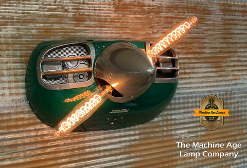 Steampunk Industrial / Aviation / Hunter Green Color  / Wall Light Lamp / Stinson / Airplane Cowling / Lamp #dc134