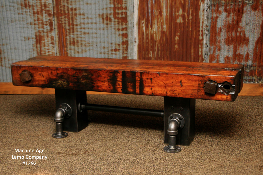 steampunk industrial antique wood beam bench or coffee table 1292 sold - Antique Wood Coffee Tables