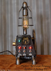 Vintage Industrial Aircraft Airplane Instrument Control Panel Lamp #CC41 - SOLD