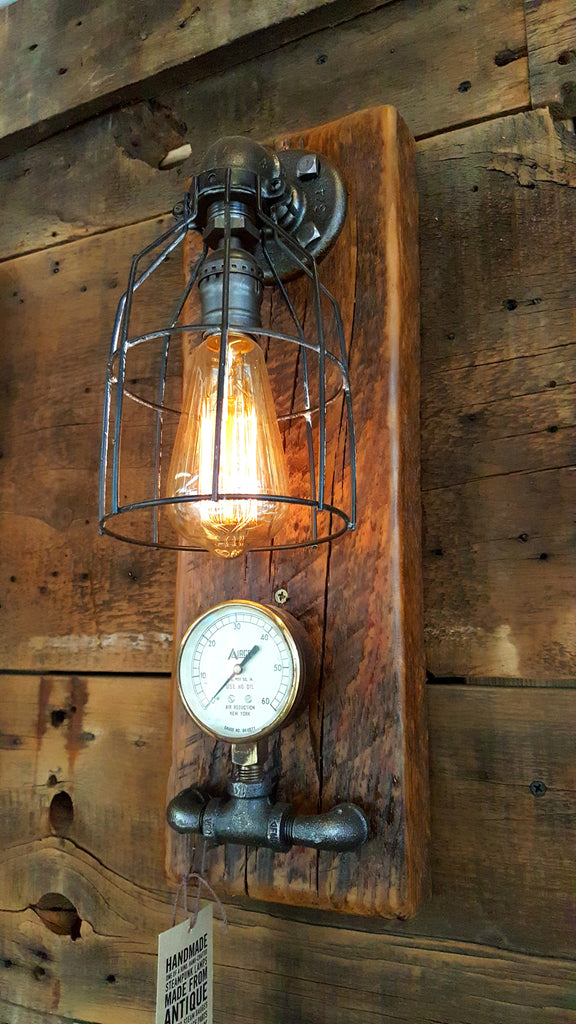 Steampunk, Industrial Barn Wood Wall Sconce, light, lamp, #1066