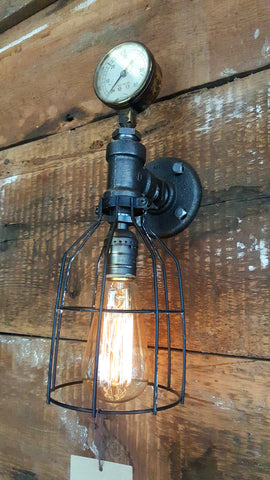 Steampunk, Industrial Barn Wood Wall Sconce, light, lamp, #1067