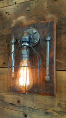 Steampunk, Industrial Barn Wood Wall Sconce, light, lamp, #1068