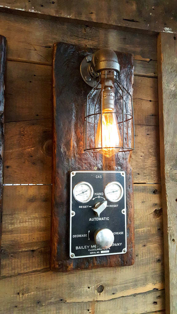 Steampunk, Industrial Barn Wood Wall Sconce, Boiler Control, light, lamp, #1069 - SOLD