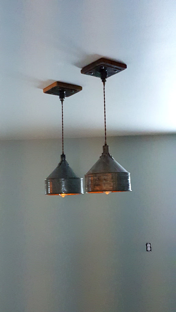 Steampunk Industrial Farm Funnel Ceiling Light Pendant