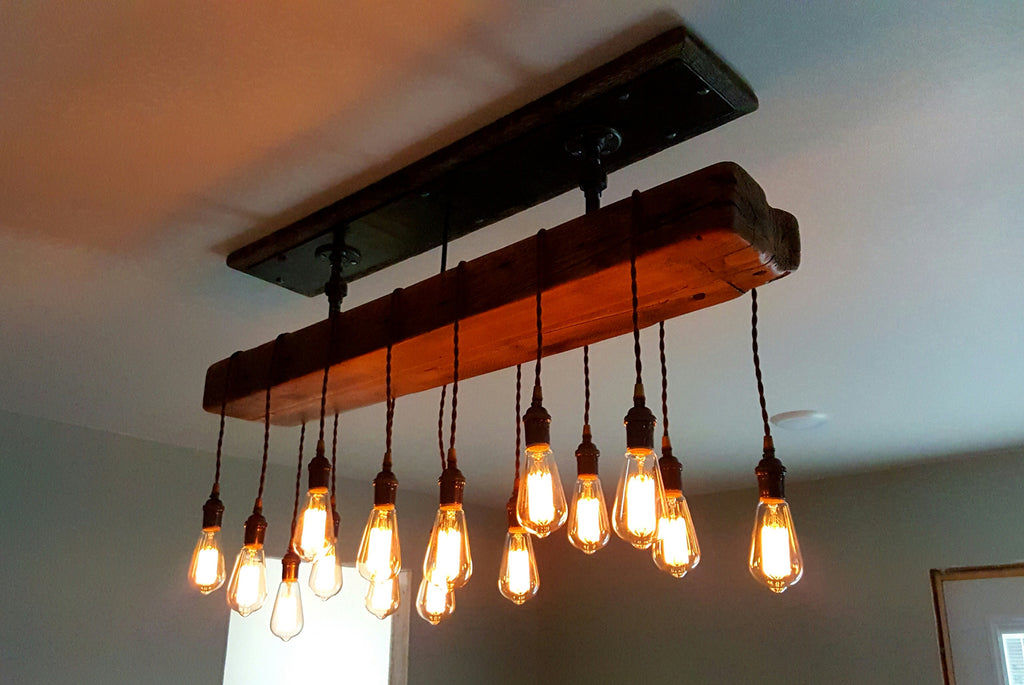 Steampunk Industrial Antique Barnwood Beam Ceiling light