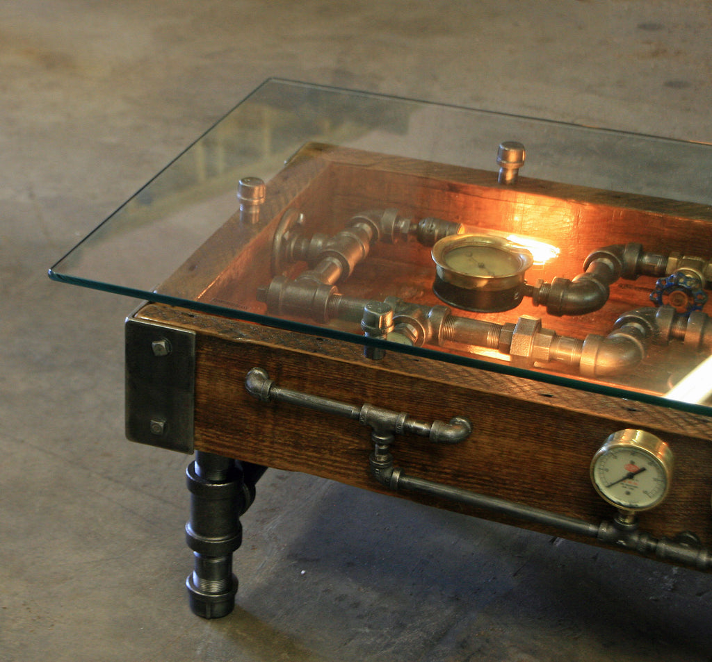 Steampunk Industrial Table Coffee Barn Wood Gauges