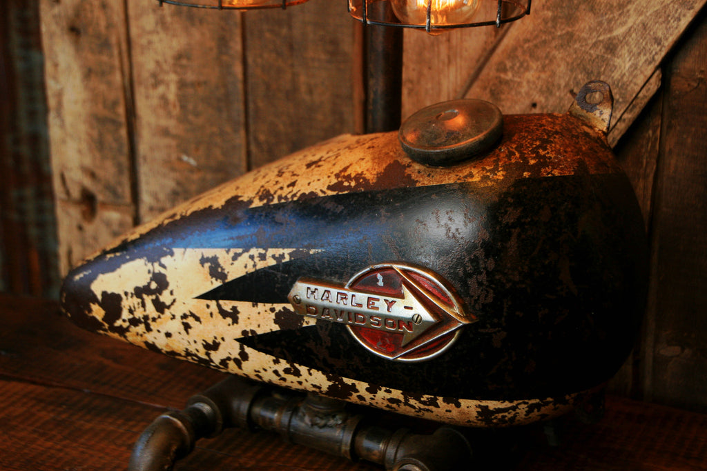 Steampunk Industrial Lamp, 1950's Antique Harley Davidson