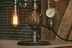 "Steampunk Industrial / Antique 8"" Steam Gauge Lamp / Gear Base / Lamp #1936"