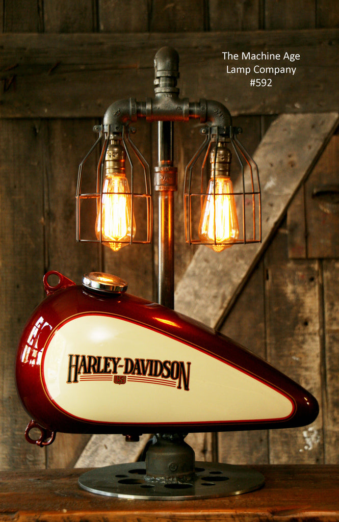 Steampunk Industrial Lamp Harley Davidson Motorcycle Gas