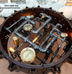 Steampunk Industrial / Antique Farm Tractor farm wheel coffee table #2030 sold