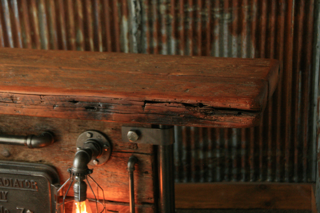 Ste&unk Industrial Lighted Barn wood Furnace Door Table Console #966 & Steampunk Industrial Lighted Barn wood Furnace Door Table Console #9