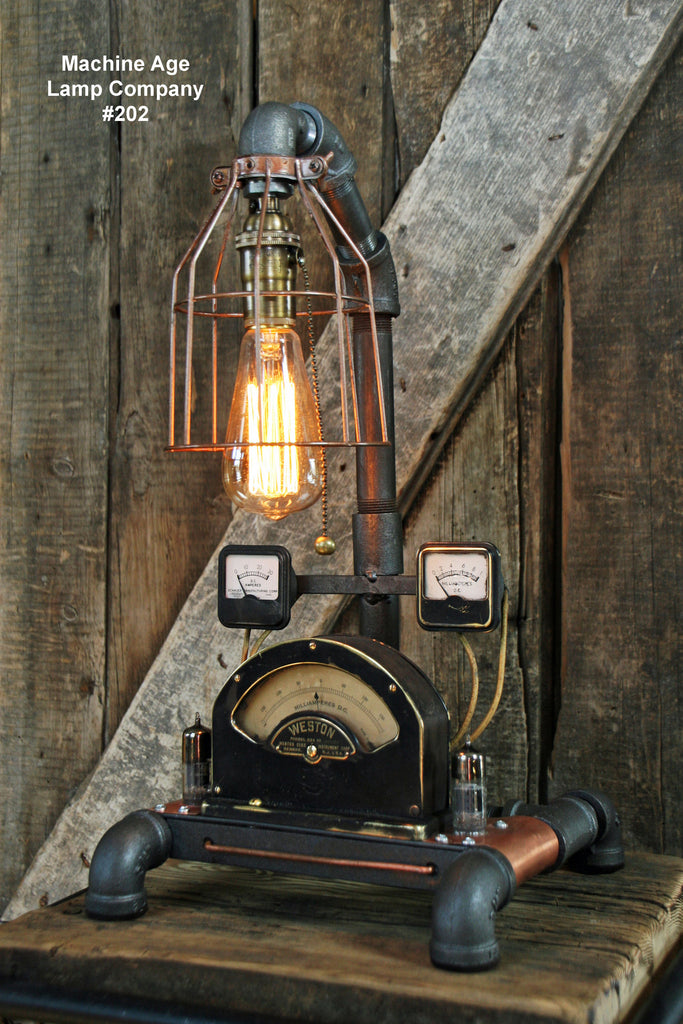 Steampunk Lamp,  Brass Meter and Copper Base #202 - SOLD