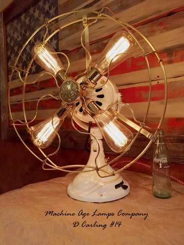 Steampunk Industrial 1916 General Electric Fan Lamp with Brass Cage, DC14