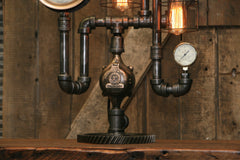 Steampunk Industrial / Antique Steam Gauge / Boston / Lamp #1871