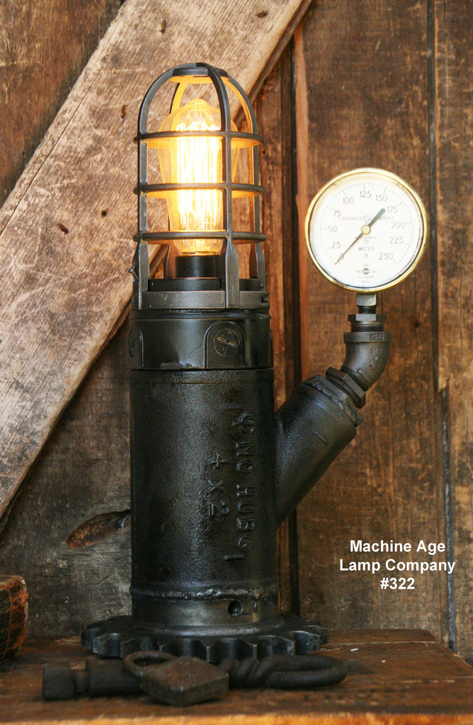 Steampunk Industrial Lamp, Steam Gauge  #322 - SOLD