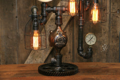 Steampunk Industrial / Antique Steam Gauge / Camden NJ / Gear Base / Lamp #2227