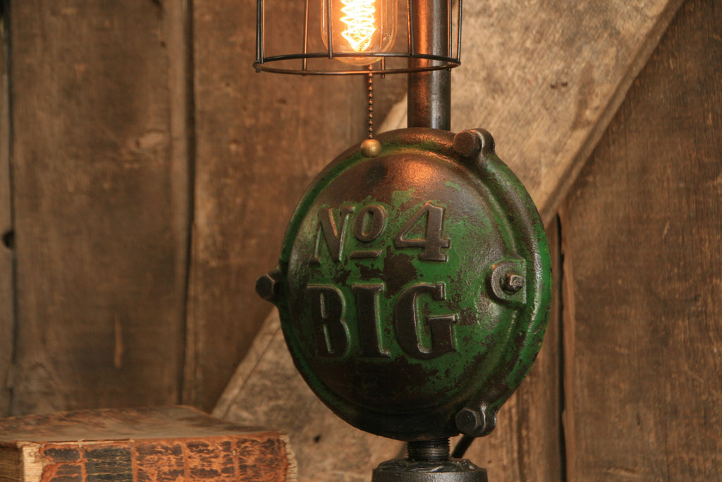 Vingage John Deere Table Lamps : Steampunk industrial antique john deere wheel hub gear