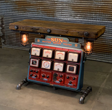 Steampunk Industrial / Antique Sun Engine Analyzer / Automotive / Barn wood Table / #2453