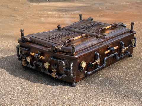 Steampunk Industrial Kewanee Boiler Door Coffee Table  #3046