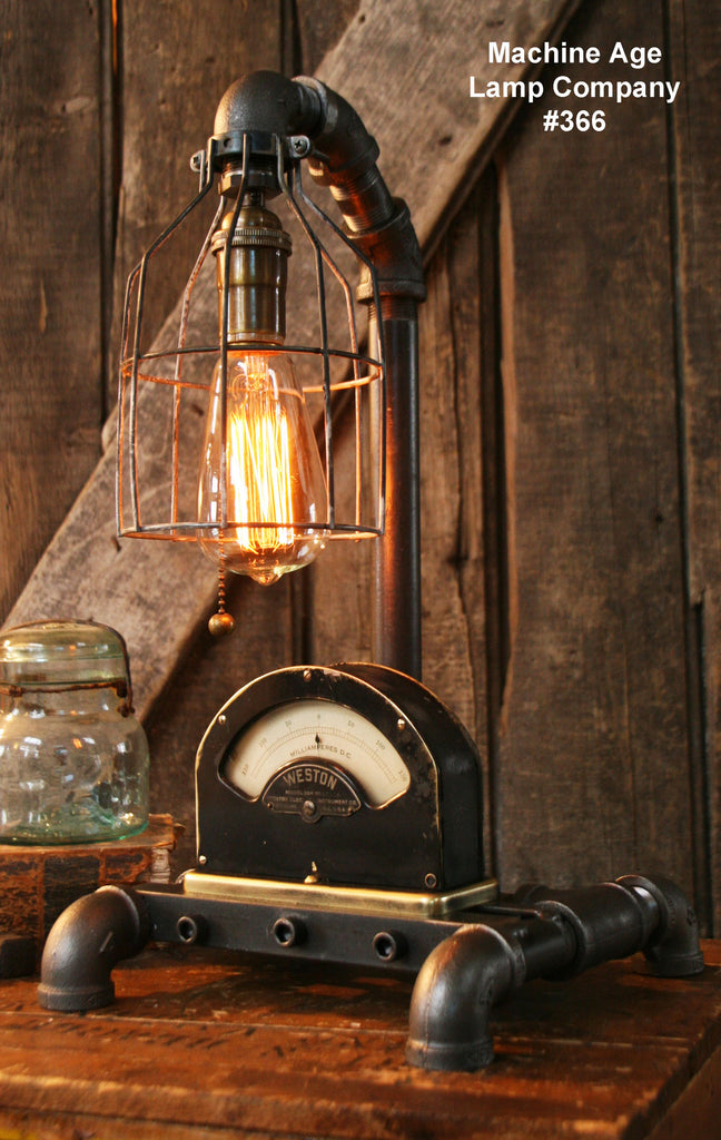 Steampunk Industrial Lamp, Weston Power Meter #366 - SOLD