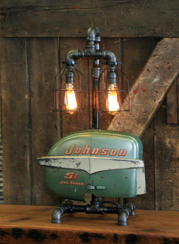 Steampunk Industrial / Boat Motor / Johnson / Nautical / Marine / Cabin /  Lamp #2504