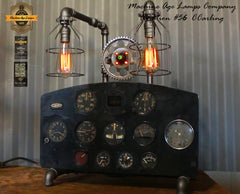 Steampunk Industrial / Aviation / Aircraft Instrument Panel / Airplane / Lamp #cc56 sold