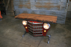 Steampunk Industrial / Willys Jeep / Grill Table / Barnwood Top / Table #2290