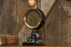 Steampunk Industrial / Antique Steam Gauge / Union Pacific Railroad / Gear / Lamp #1714 sold