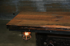 Steampunk Industrial Table / Antique Boiler Furnace Door / Barnwood / Table #2006
