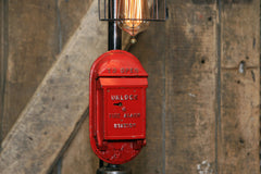 Steampunk Industrial / Antique Fire Call Box / Fireman / Gear / Gamewell  / Lamp #2207