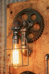 Steampunk, Industrial Barn Wood Wall Sconce, Steam Gauge - #628