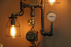 Machine Age Steampunk Steam Gauge Lamp #67 - SOLD