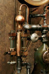 Steampunk Industrial Pipe Lamp, Oiler and Steam Gauge - #944