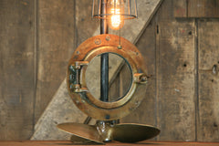 Steampunk Industrial Lamp / Antique ship port window / Antique Propeller / Boat / Nautical / #2192