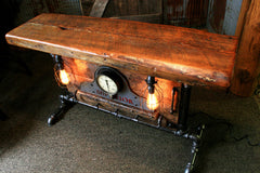 Industrial Antique Steam Gauge Lamp Stand Table, Old Barn Wood Top, #805 - SOLD