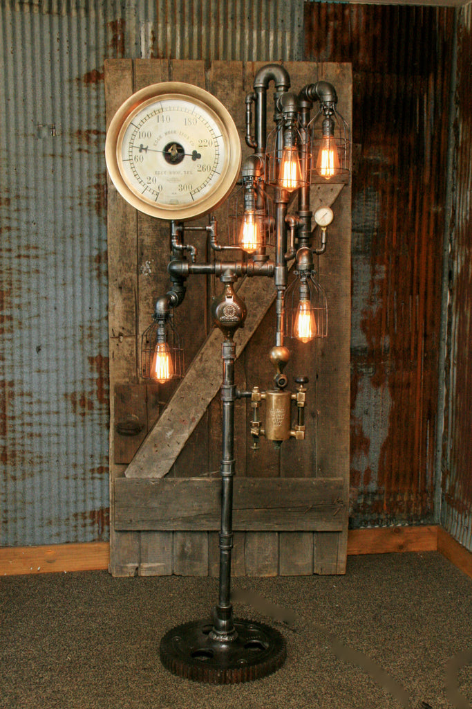 Steampunk Industrial Floor Lamp Steam Gauge Oiler L 902