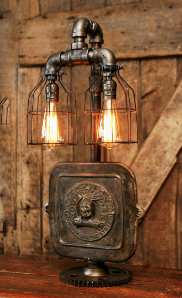 Steampunk Industrial Lamp Indian Stove Door Round