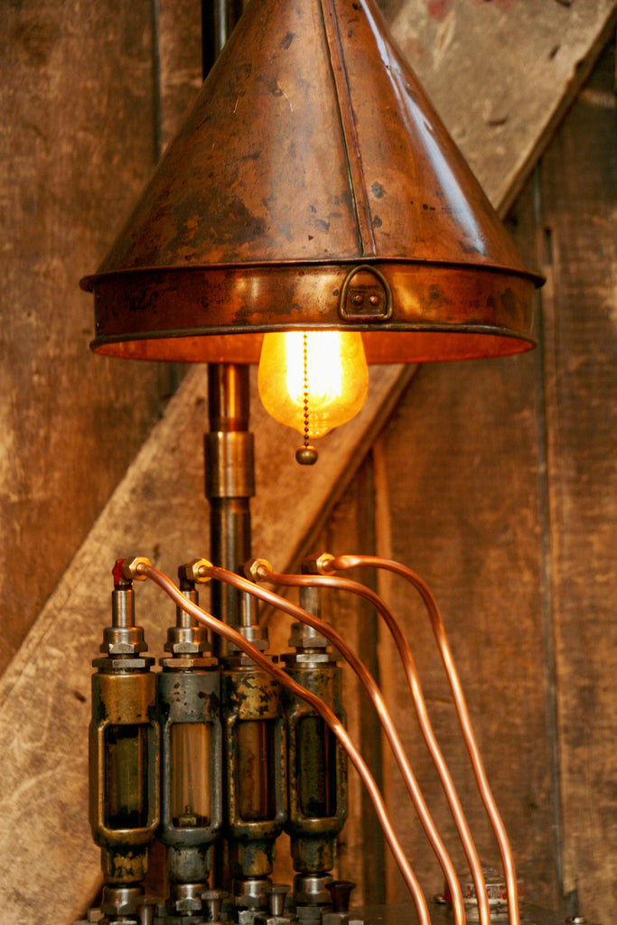 Steampunk Industrial Lamp Antique Hit Miss Engine Oilier Steam Lamp