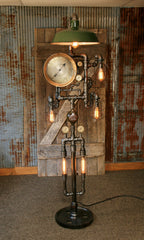 SteamPunk Industrial / Floor Lamp / Green Shade / Antique Steam Gauges / Gear #1534