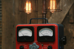 Steampunk Industrial Lamp / Antique Sun Volt Meter / Automotive /  #1739