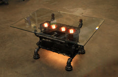 "Steampunk Industrial / Antique Model ""T"" Engine Block  / Coffee Table / Glass Top / Table #1777"