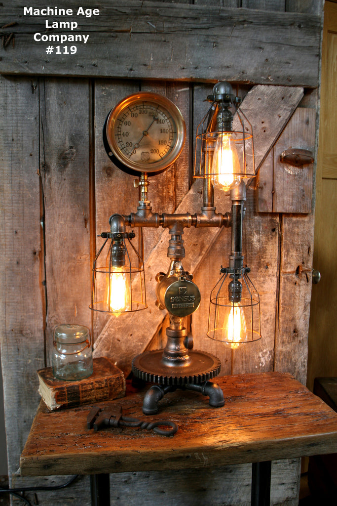 Captivating Steampunk Lamp, By Machine Age Lamps, Brass Steam Gauge #119