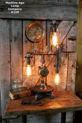 Steampunk Lamp, By Machine Age Lamps, Brass Steam Gauge #119