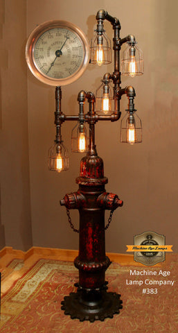 Steampunk Industrial Antique Fire Hydrant Floor Lamp, #383