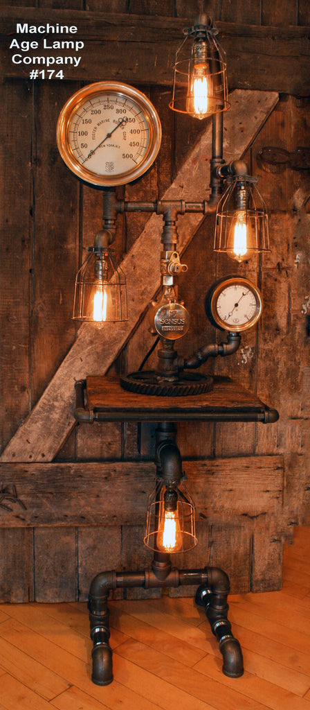 Steampunk Lamp Table, Barnwood and Iron Pipe #174 - Sold