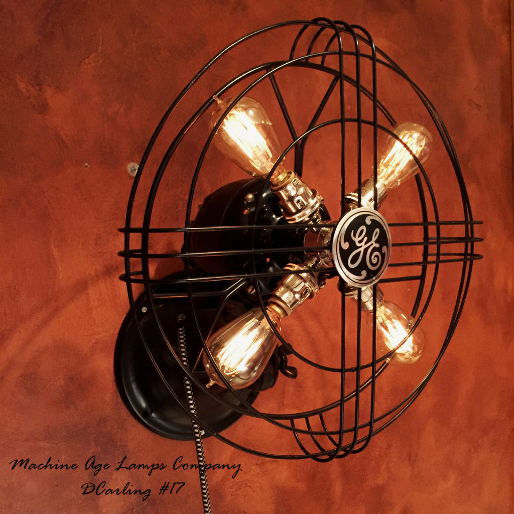 History About The Electric Fan : Steampunk s general electric wall fan lamp