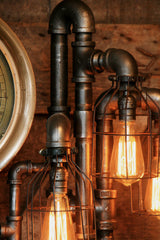 Steampunk, Industrial Pipe and Vintage Steam Gauge Floor Lamp #824