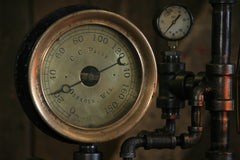 "Steampunk Industrial / 7.5"" Steam Gauge / Gear / C.C Paige Oshkosh Wis / Gear Base / Lamp #2510 sold"