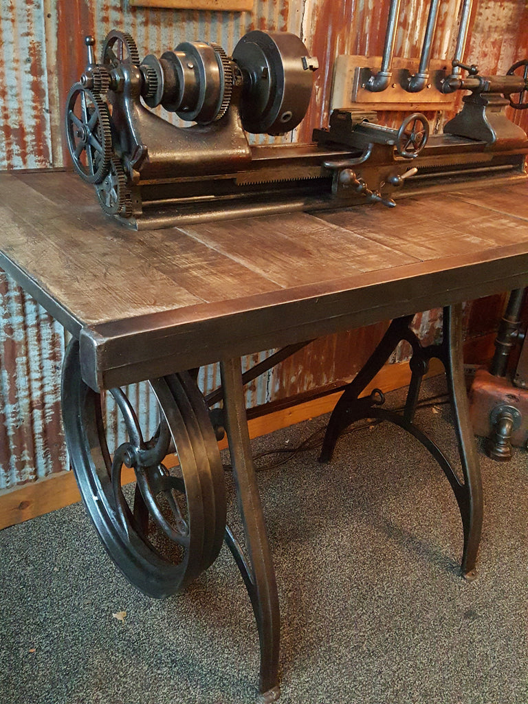 Rare Antique Barnes Lathe, Pub Table Stand, Reclaimed Wood Top   #640 Sold