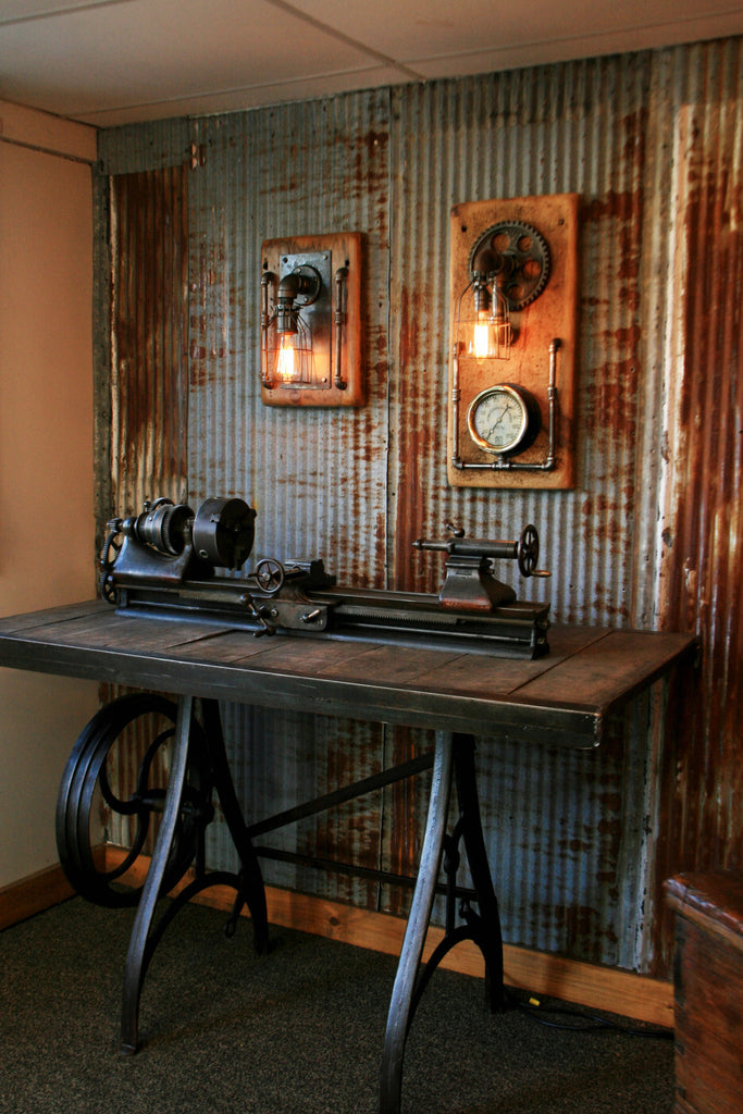 Steampunk Industrial Barn Wood Wall Sconce Light Lamp